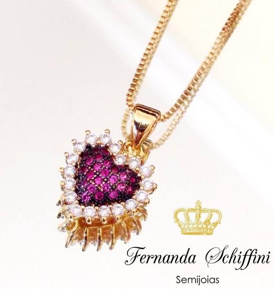 Colar Coração Zirconia Rubi E Cristal Folheado A Ouro Cl904