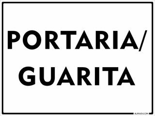 Placa Portaria Guarita 15x20cm Sinalização Em Alumínio