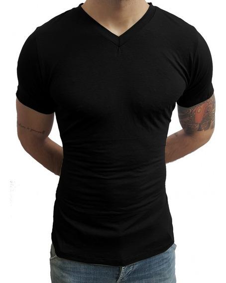 Camiseta Masculina Slim Fit Gola V Original Promoção Barato.