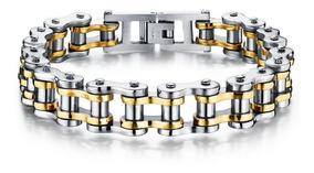 Pulseira Masculina Bracelete Corrente Em Aço 316l + Ouro 18k