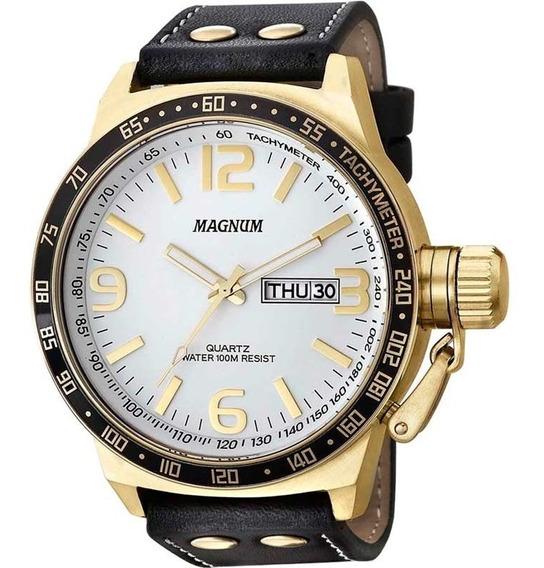 Relógio Magnum Masculino Preto Couro Ma31542b Calendário