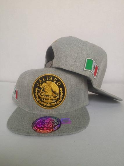 Gorra Jalisco Mexico Escudo Bandera Snapback Gris Claro