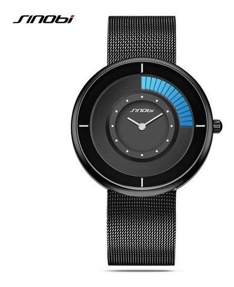 Relógio Luxo Quartzo Display Azul Esporte - Original Sinobi