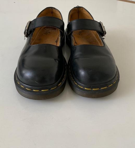 Zapato Dr Martens Ingles Negro Cuero Eco Guillermina Num 36.