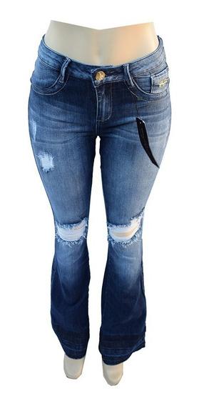 Calça Feminina Empório Jeans Flare Rasgada C Lycra - Em213