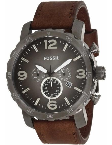 Relógio Fóssil Nate Jr1424 50mm Cronógrafo Cinza Marrom