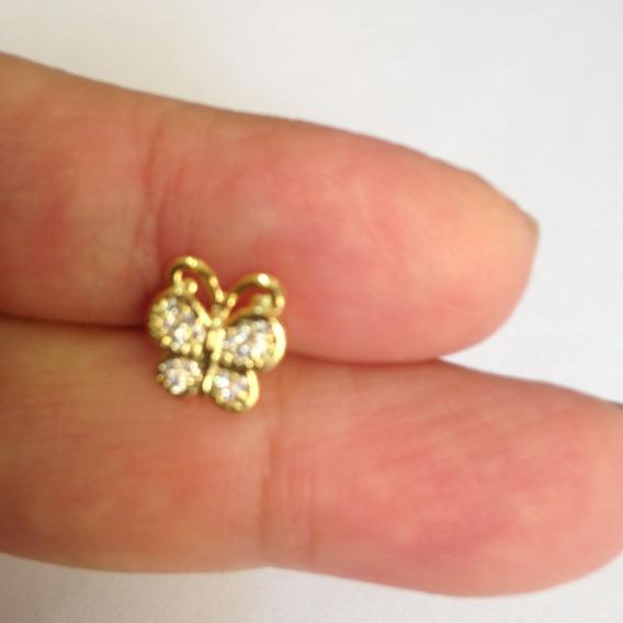 Piercing Dourado Cartilagem/helix Tragus Borboleta Asa Stras