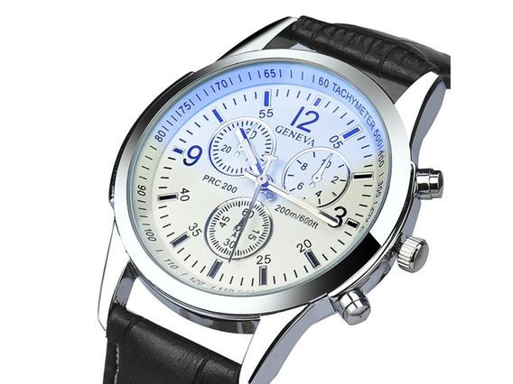 Relógio Luxo Masculino Geneva Social Pulseira Couro