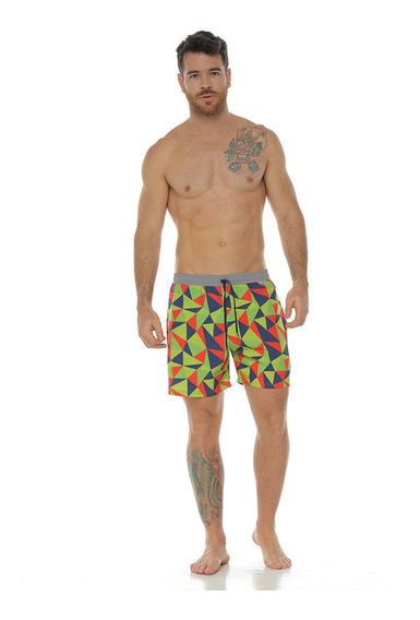 Pantaloneta De Baño Corta Sublimada, Azul Oscuro Para Hombre