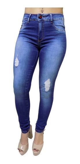 Calça Feminina Jeans Cintura Alta Skinny Rasgada Justinha 19