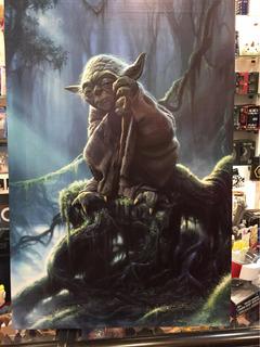 Yoda Poster Afiche Con Bastidor De Madera Star Wars