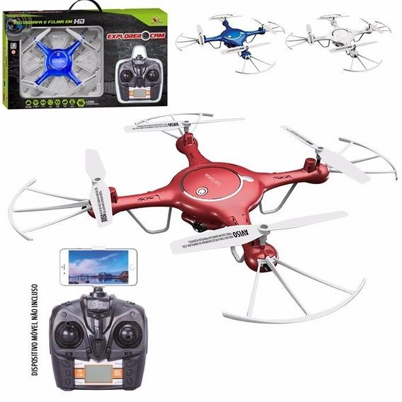 Drone Quadricoptero Câmera Hd Wifi 4 Canais + Pilhas Brinde