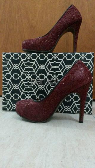 Stilettos / Calzado De Mujer. Glitter Bordo N° 36 Paruolo