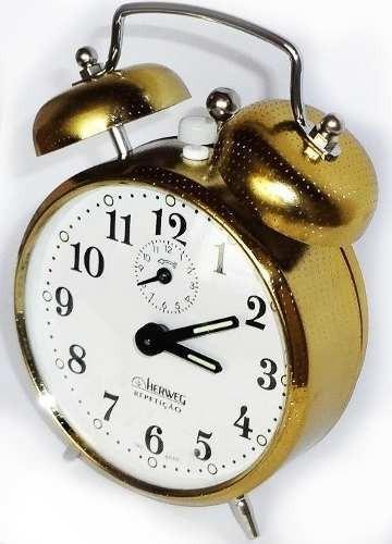 Relógio Despertador Antigo A Cordas Dourado Herweg 2370