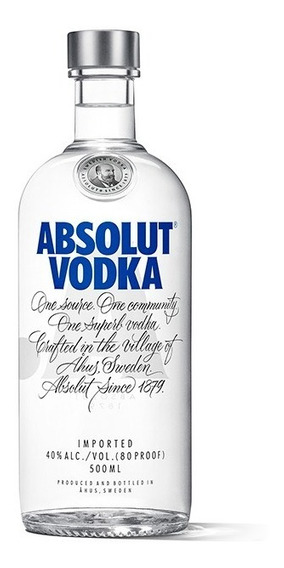 Vodka Absolut Original De Suecia Botella De 500 Ml