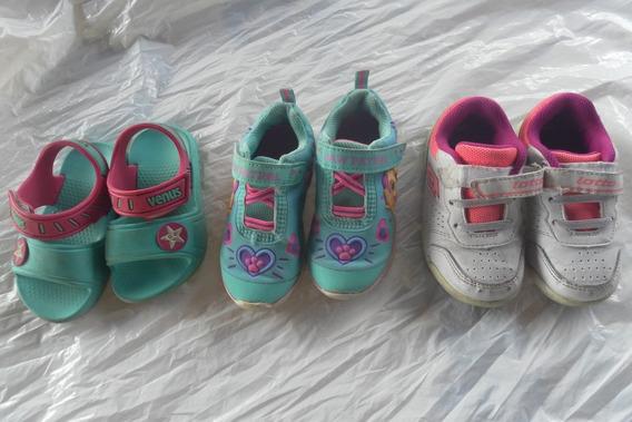 Trio De Zapatos Usados De Niñas