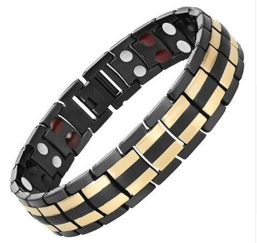 Titanium Titanio Brazalete Magnético Negro-dorado Nuevo