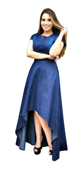 Vestido Feminino Jeans Moda Evangélica Mullet Danubia