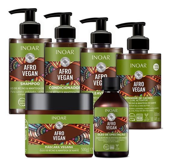 Kit Cachos Inoar Tratamento Completo Afro Vegan 06 Produtos
