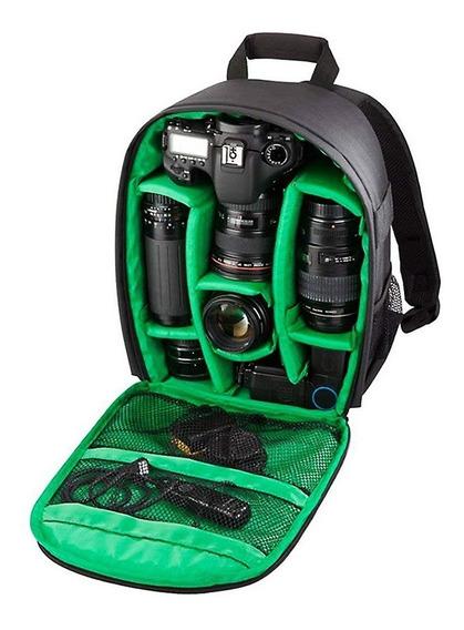 Mochila Fotográfica Impermeável P/ Câmeras Dslr Verde +nf