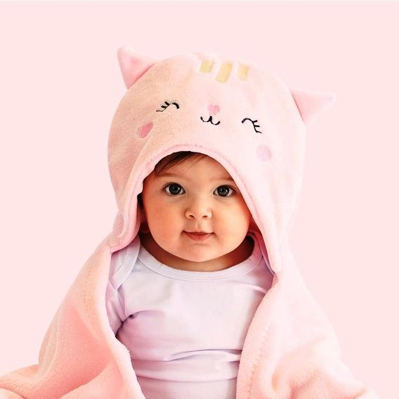 Cobertor Manta De Microfibra Mami Bichuus Com Capuz Bebê