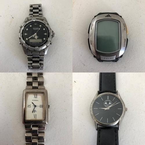 Lote 4 Relógios No Estado Technos Fossil adidas Promocional