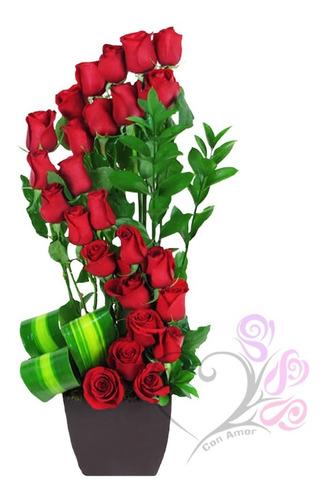 Imagen 1 de 7 de Arreglos Florales 24 Rosas Rojas Naturales Cdmx