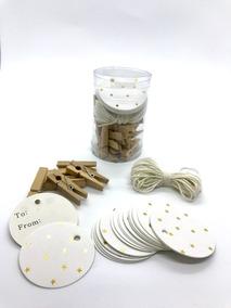 Hang Tags Tarjetas Con Diseño, Pack 25 Uni + 25 Mini Broches