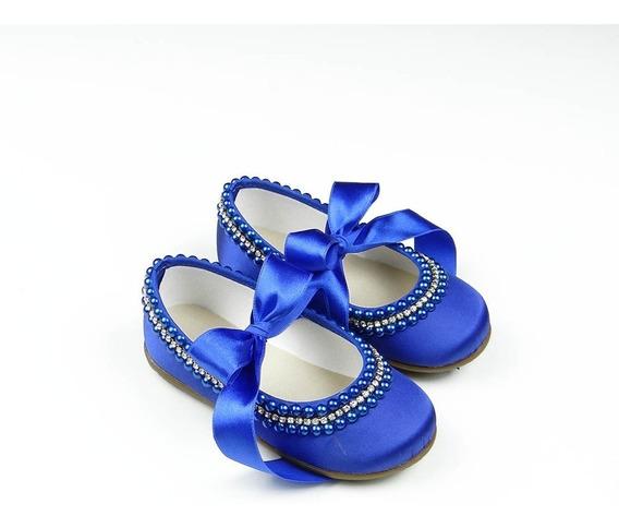 Sapatilha Customizada Dama Honra Daminha Azul Bic Royal