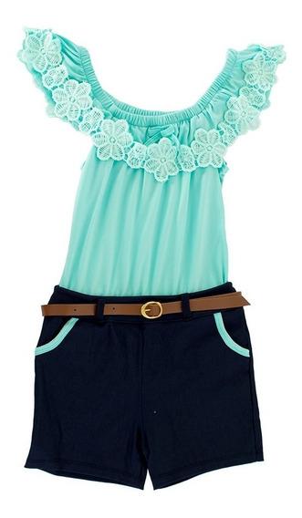 Jumper Niña Overol Jumpsuit Short Blusa Con Fajo Primavera