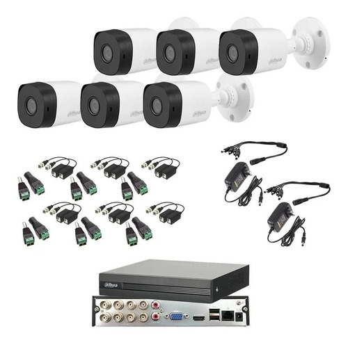 Imagen 1 de 6 de Kit Video Vigilancia 6 Cámaras 1080p Dahua Cctv Baluns