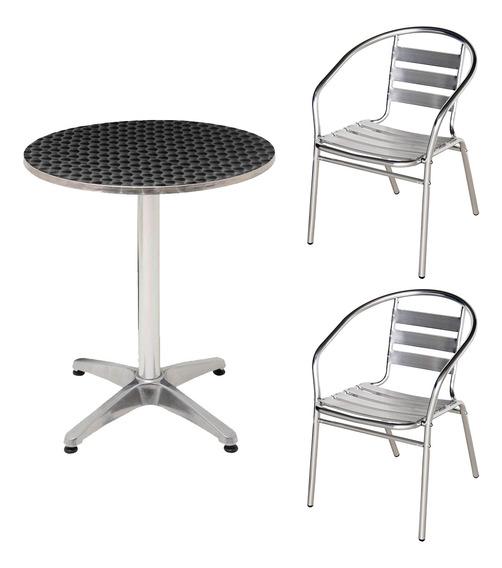 Kit Mesa Redonda 60cm + 2 Cadeiras Jardim Casa Alumínio Mor