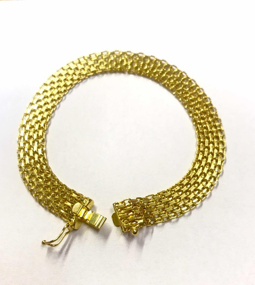 Pulseira Esteira Bismark 9 Mm Largura Ouro 18k 750