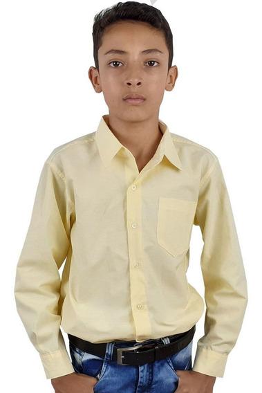 Camisa Social Infantil Manga Longa Branca,azul Claro E Marin