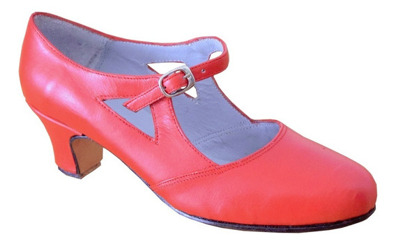 Zapato Español Rojo- Folklore - Danza - 100% Cuero