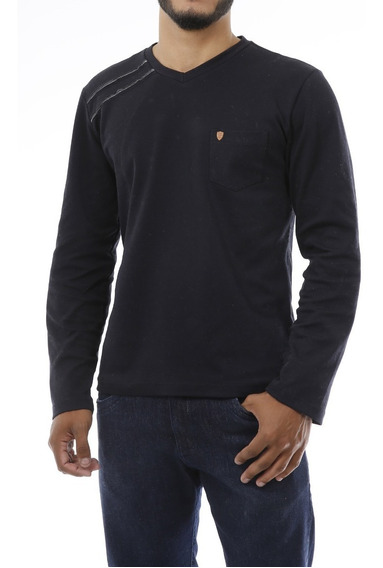 Camiseta Camisa Manga Longa Slim Masculina Malha Suedine