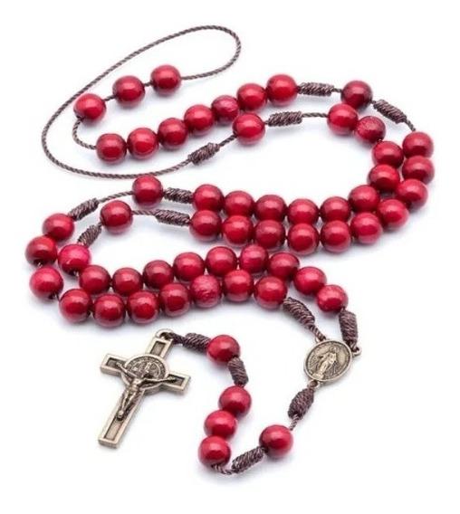Kit 06 Terços Acampamento De Oração Vermelho No Cordão 971