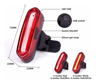 Lanterna Traseira Para Bicicleta Recarregável Usb 6 Modo