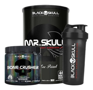Mr. Skull 44 Packs + Bone Crusher + Shaker - Black Skull