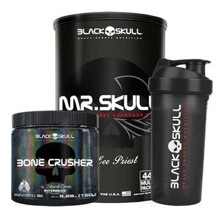 Mr. Skull 44 Packs + Bone Crusher + Shaker - Black Skull