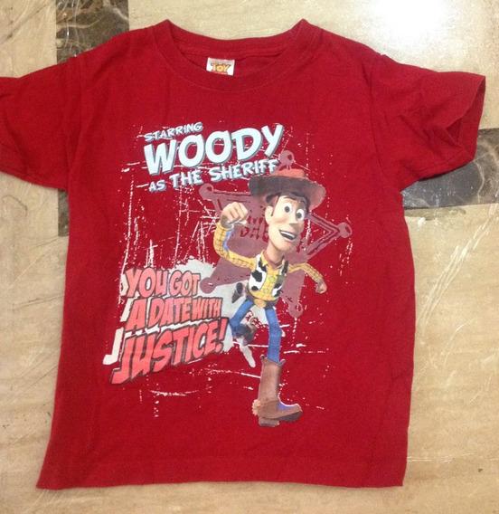 Playera Roja Manga Corta Niño Talla 4 Toy Story Woody