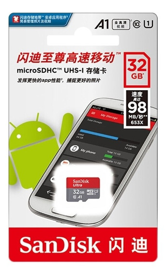 Micro Sdxc Sandisk 32gb C10 U1 A1 98mb/s