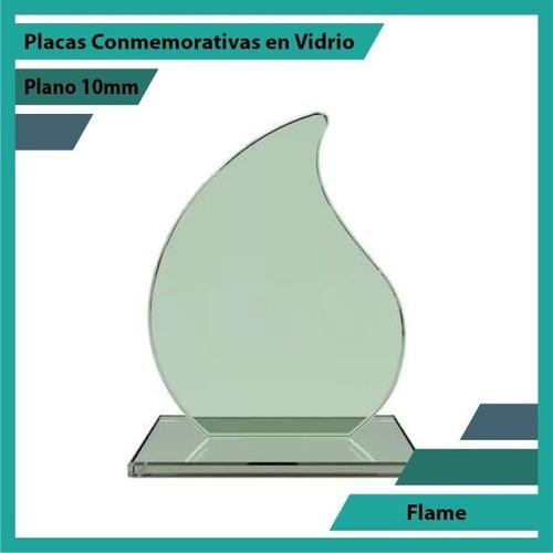 Trofeo En Vidrio Referencia Flame Pulido Plano 10mm