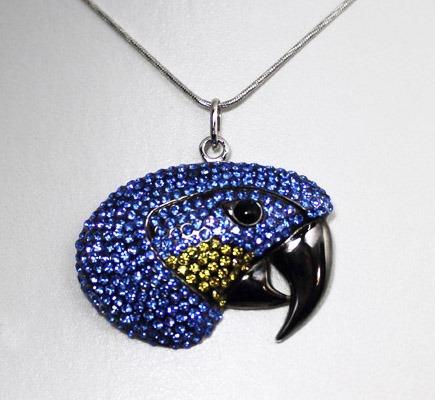 Pingente De Arara Azul, Folheado, Ouro 18k, Rhodium Negro