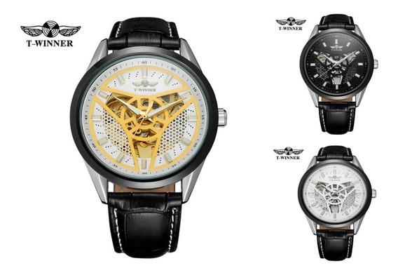 Reloj Mecánico Automático T Winner Piel Moderno Calidad