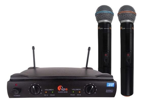 Sistema Microfone Vocal Duplo Sem Fio Uhf K-402m - Kadosh