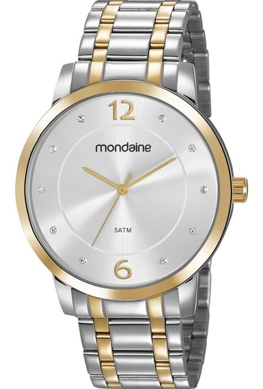 Relógio Mondaine Feminino Analógico Bicolor + Colar E Brinco