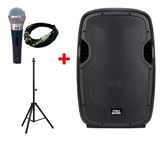 Caixa Amplificada 15 Probass Tripe E Microfone Com Fio 5m Frete Gratis