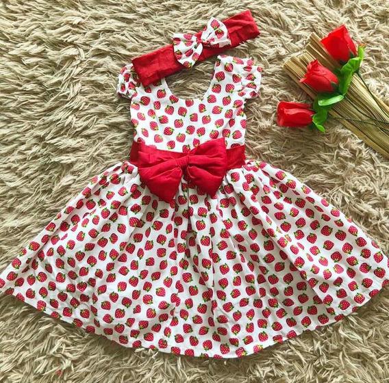 Vestido Menina Infantil Moranguinho Tiara Bebe 5/12 Meses