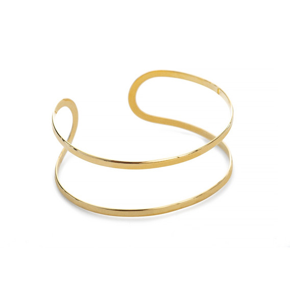 Pulseira De Ouro 18k Bracelete Aberto Fios Vazados Pu04770
